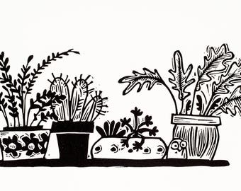 Tiny Windowsill Garden - linocut print, cacti, succulents, gardeners gifts, house plants, cactus, gardening, home, lino print, black,  art,