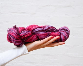 1 ply Lace Weight Kauni Wool Yarn, Hot pink, Candy Pink Lavender Deep Purple