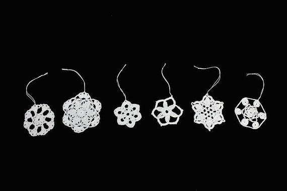 Snowflake Ornaments, Crochet, Decorations, Set of 6