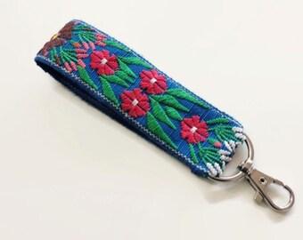 Wrist Keychain, Keychain Wristlet, Key Ring, Floral Fabric Key Fob, Boho Lanyard,  Floral Key Chain, Pretty Flower Keychains