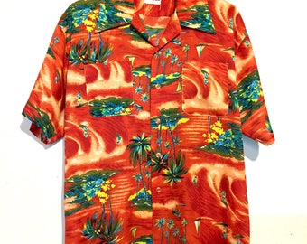 70s Vintage Button Up Hawaiian Shirt XL mt56376