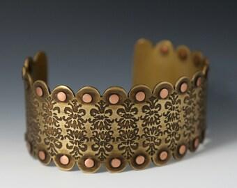 Brass cuff, etched brass cuff, steam punk bracelet, rivet cuff, adjustable cuff, lace cuff, statement bracelet, art jewelry, art nouveau