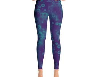 Teal and purple Yoga Leggings, yoga band, workout pants, womens leggings, Mommy and me, leggings, soft leggings