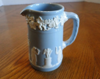 Wedgwood Blue and White Queensware Creamer, Etruria & Barlaston English Small Milk Jug, Embossed Grapes Serving pitcher