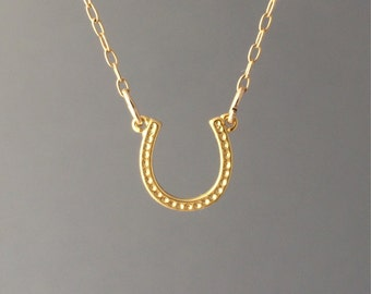 Small Gold Horseshoe Necklace also available in Silver