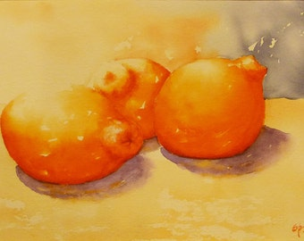 Still Life with Chubby Tangelos, Original Watercolor Painting, Still Life with Oranges, Original art, Small Painting, Orange, Kitchen Art
