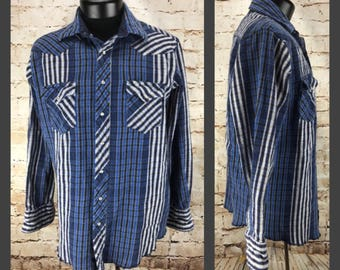 Men's Vintage Western Shirt - 90's Blue and White Wrangler Button Down - Button Up XL Tall - Extra Large Striped Western Shirt Mens