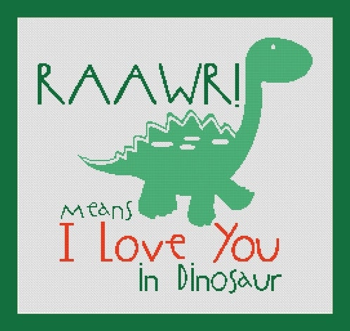 i love you letters raawr means i you in dinosaur counted cross stitch 5155