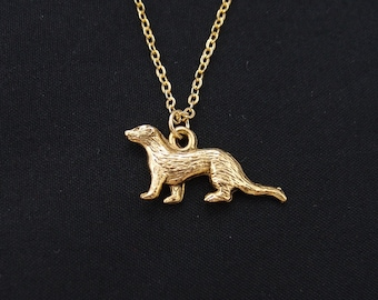 ferret necklace, gold filled, gold ferret charm, animal necklace, ferret charm necklace, ferret jewelry, Christmas gift, birthday gift