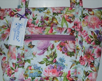 Quilted Fabric Handbag with Beautiful Hummingbirds, Butterflies and Flowers