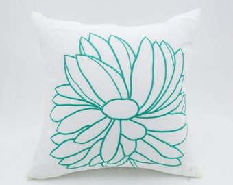 Turquoise Flower Pillow Cover, White Linen Turquoise Floral Embroidered Pillow, Cushion cover, Floral Couch Pillow, Home Decoration