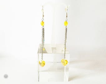 Yellow swarovski crystal earring
