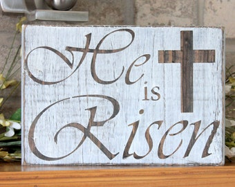 Easter Decor He Is Risen Wooden Sign Decorations Rustic
