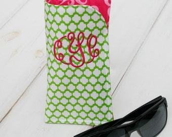Green Dot and Pink Sunglass Case Glass Sleeve Monogrammed Cases for Oversized glasses Funky Sunglass case Polka Dots Sunglass sleeves