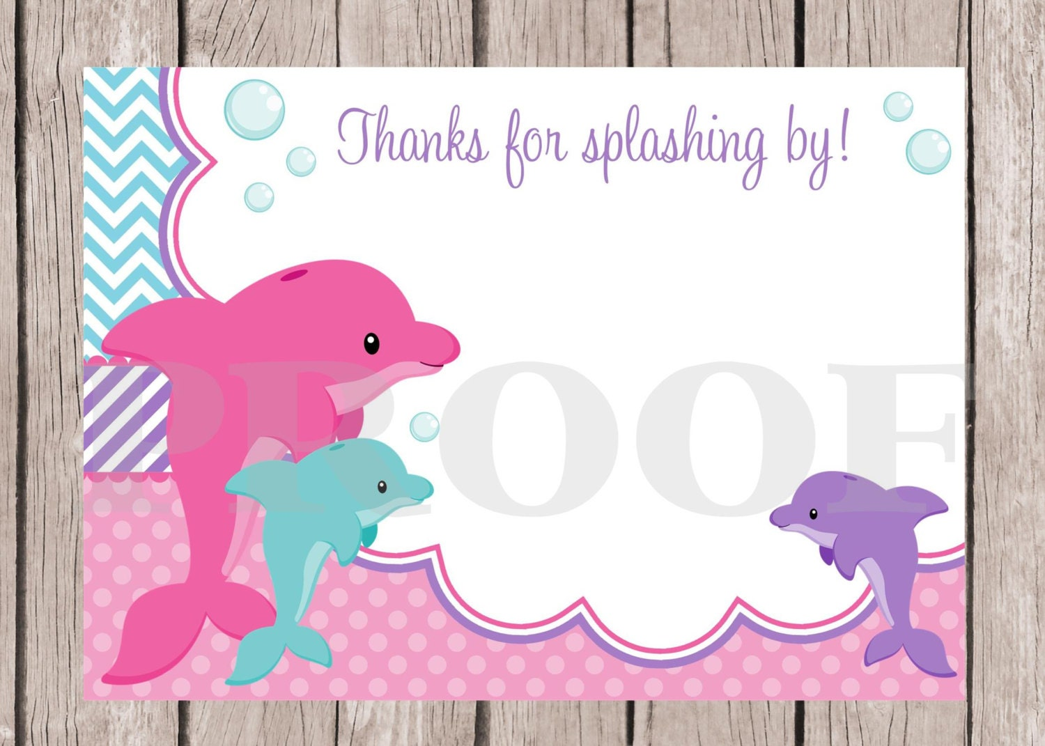 PRINTABLE Dolphin Birthday Party Thank You Card Pink