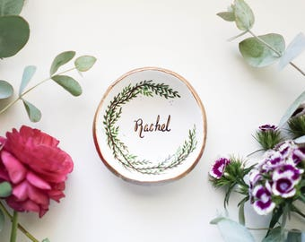 Personalized Evergreen // Watercolour Jewelry Dish // Ring Dish // Catch all // Personalized Gift // Personalized // Valentines Gift //