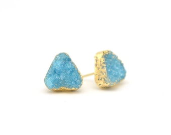Aqua Druzy Earrings | Aqua Earrings | Druzy Earrings | Gifts for Her | Sparkly Earrings | Evening Earrings | Something Blue