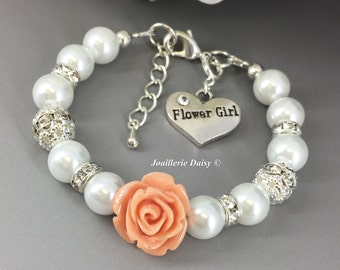 Flower Girl Gift Light Peach Flower Bracelet Flower Girl Jewelry Flower Girl Bracelet Gift for Flower Girl Peach Coral Gift under 15