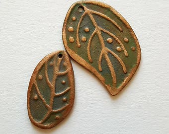 Leaf Charms - Bronze Metal Clay Charms / Pendants