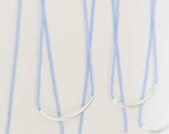 Powder blue necklace, minimalist necklace, bar necklace, noodle necklace, dainty necklace,beaded necklace,lavender necklace, blue necklace