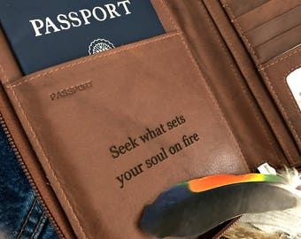 travel organizer, Personalized passport wallet, RFID passport wallet, leather passport wallet, mens passport wallet, travel wallet 7505