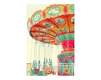 Carnival Photo. Bright art. Santa Cruz beach boardwalk. Colorful. Swings. Red. Orange. Mint. Blue. Pink. Yellow. Fun. Nursery Art. Happy