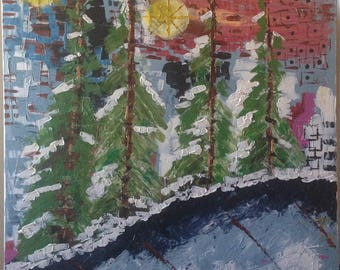 Acrylic Painting, Colors of Winter