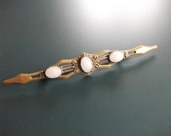 Vintage Baroque Glass Stones Bar Pin Brooch