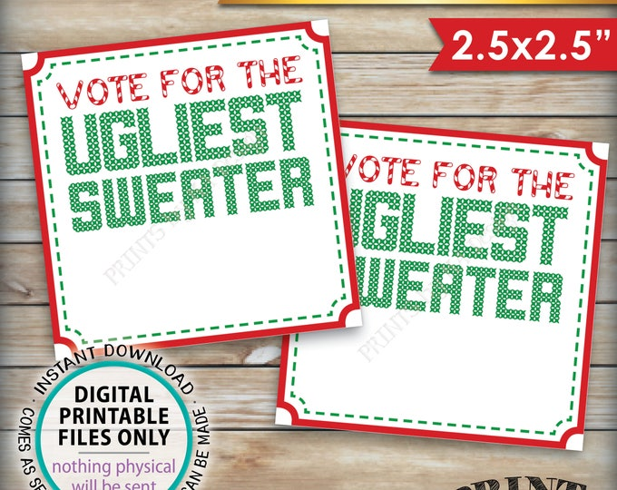 """Ugly Christmas Sweater Party Voting Ballots, Vote for the Ugliest Christmas Sweater, Tacky Sweater, Instant Download PRINTABLE 2.5"""" Ballots"""