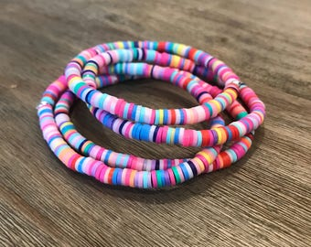 Little girl's bracelet; stretch bracelet, rainbow bracelet