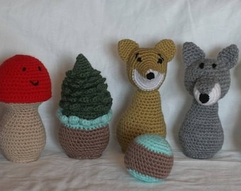 "Bowling game ""people of the forest"" crochet"