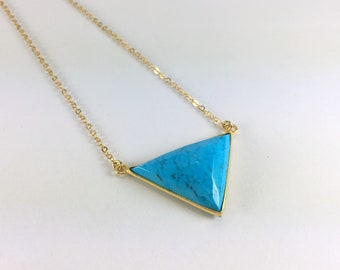 Turquoise Necklace Gold Filled Necklace Gemstone Necklace Triangle Necklace Pendant Necklace Boho Layering Necklace Delicate Blue Necklace