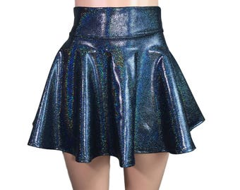 Black Holographic High Waisted Skater Skirt - Clubwear, Rave Wear, Mini Circle Skirt