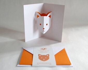 Pop-up Card // Cat Orange // Creative Stationery, Everyday Gift Card, Birthday Card, Greeting Card, Decorative Card