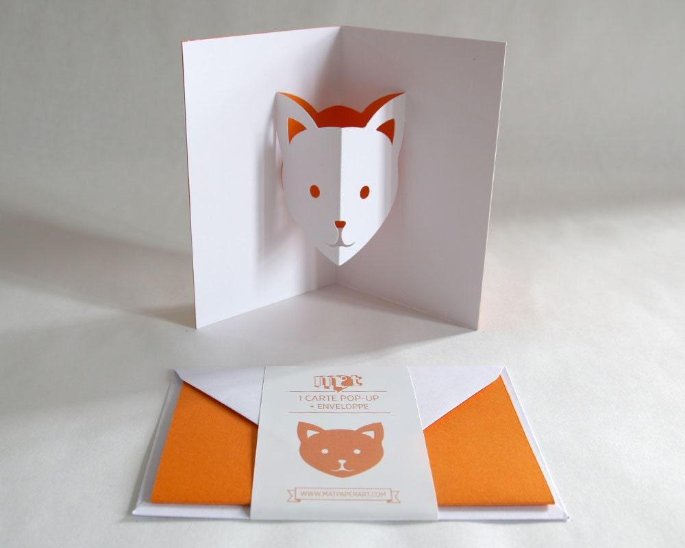 pop up card cat orange creative stationery everyday. Black Bedroom Furniture Sets. Home Design Ideas