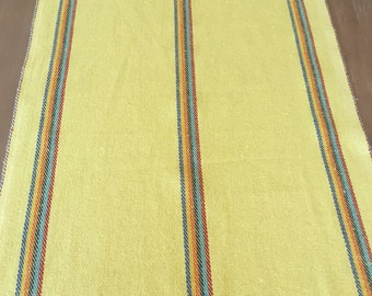 Mexican Table Runner, Yellow Rustic Jerga Style, Boho Chic Linens, Rainbow  Accents,
