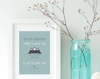 Your mountain is waiting poster   Dr Seuss quote   Inspiring posters for kids   Typography   Printed   Matted (optional)
