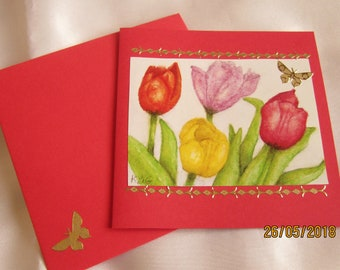 """Folded card and matching Envelope series """"flowers"""""""