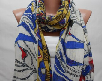 Floral Winter Fashion Scarf Shawl  Fashion Accessories Scarf Blue Red Scarf Floral Cowl Scarf Gift For Women Gift For Her  Women Scarf