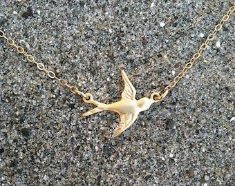 Bird Necklace, Tiny Bird Pendant, Matte Gold