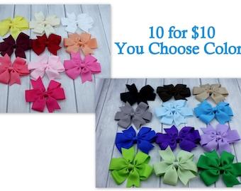 "Choose 10-3.5"" Pinwheel Hair Bow-Alligator Clip-Baby Hair Bow-Toddler Hair Bow-Choose 10"