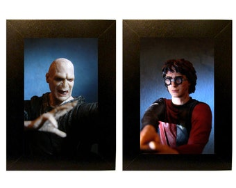 "Framed Harry + Voldemort Toy Photographs 5"" x 7"""