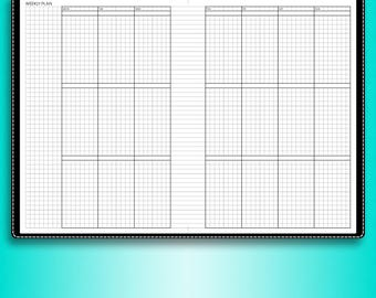 Undated WEEKLY planner printable inserts #U-WCL2 (filofax a5 planner inserts, a5 inserts, a5 travelers notebook)