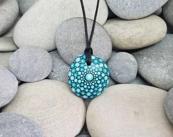 Teal Painted Stone Necklace - Painted Jewelry Rock - Mandala Rock - Dot Art - Mandala Art - Hand-painted Necklace - Chakra - Healing