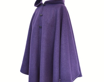 Purple Boiled Wool Cape, Hooded Cloak, Wool Cape Coat, Wool Poncho Jacket, Medieval Cloak, Winter Wedding Cover Up