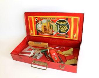 Vintage Gilbert Big Boy Tool Chest Box Red Metal Tools Kid Size Young Handyman Hobby Boys Room Decor