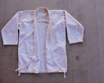 BEAT to HELL Kimono Style White Canvas Karate Jacket Shirt S/M