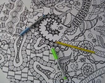 Instant Download Doodle Coloring Pages - 5 Printable Designs  - Set 17