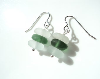 Seaham Sea Glass hook earrings of white and green stacked drops suspended from Sterling Silver hooks - E1797 - from Seaham,  UK