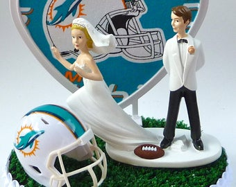 Wedding Cake Topper Miami Dolphins Football Themed Runaway Bride Helmet Green Turf Heart Sports Fans Funny Humorous Reception Centerpiece